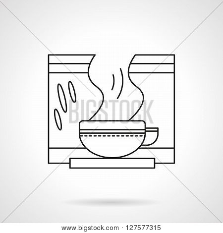 Tea cup with steaming herbal decoction. Drugstore items. Herbal medicine. Health care concept. Flat line style vector icon. Single design element for website, business.