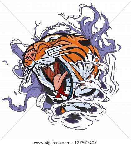 Cartoon Clip Art Illustration of a roaring tiger head ripping out of a hole in the background.