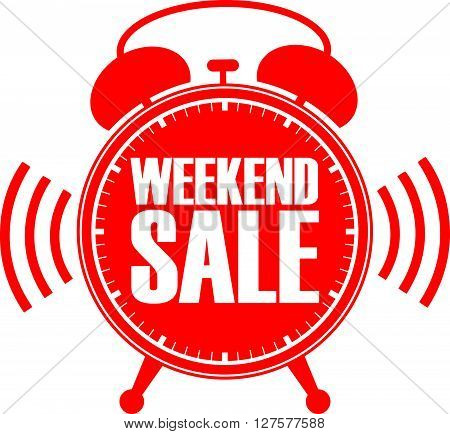 Weekend Sale Red Alarm Clock, Vector Illustration