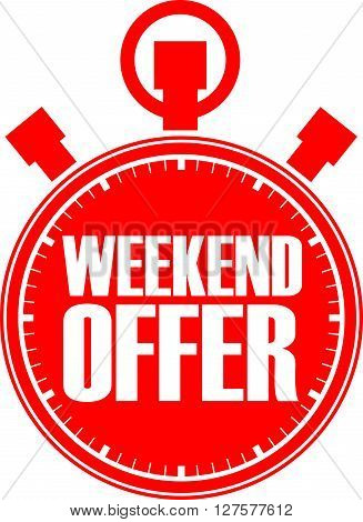 Weekend offer red stopwatch, weekend offer label, vector illustration