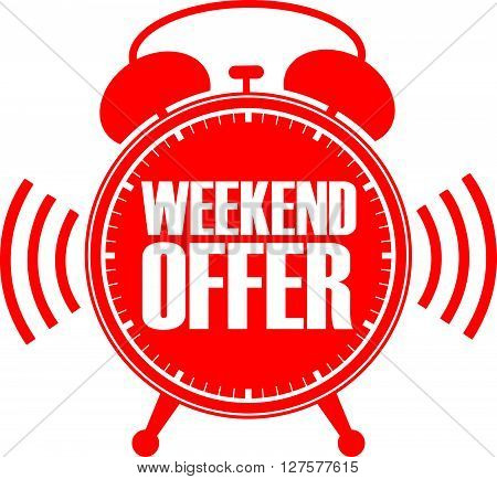 Weekend Offer Red Alarm Clock, Vector Illustration