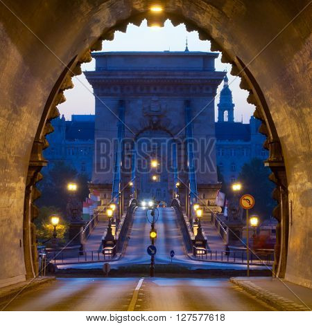 Buda Castle Tunnel with Chain Bridge view, Budapest, Hungary