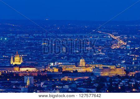 Budapest view with Buda Caslte and Basilica, Budapest, Hungary