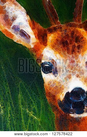 painting deer on canvas, and grass background and glass effect