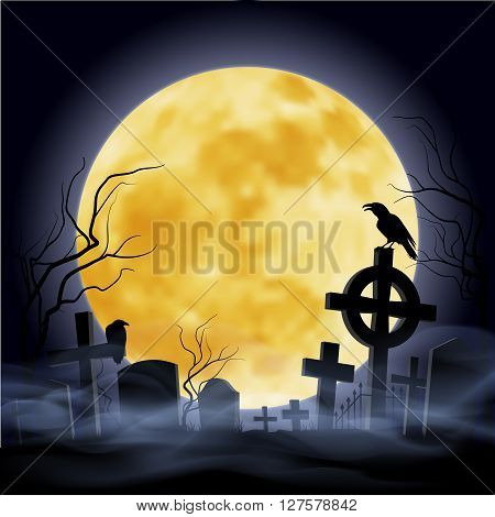 Cemetry at the night. Yellow moon. Headstone.