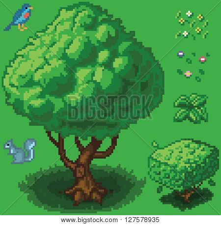 Vector illustration icon set of a tree shrub a squirrel a bird a small plant and flowers created in a video game pixel art style. Separated into layers for easy editing.