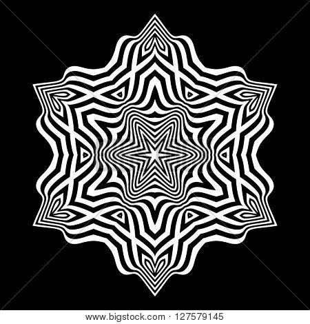 Black and White Abstract Striped Background. Abstract Design Element. Optical Art. Vector Illustration.