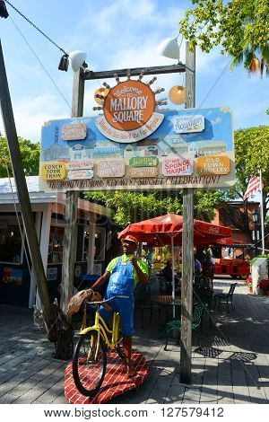 KEY WEST, FL, USA - JAN 1: Colorful signs at the entrance of Mallory Square on Jan 1st, 2015 in Kew West, Florida, USA.