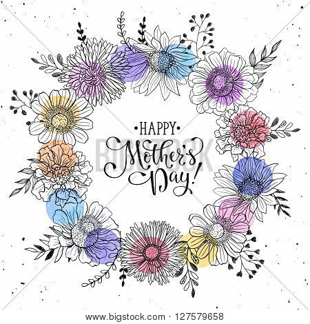 Mother's Day greeting card template. Happy Mothers day wording with flowers hand drawn black on white background. Decorative doodle frame from flowers and watercolor dots.