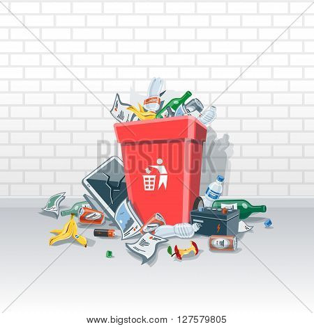 Vector illustration of littering waste that have been disposed improperly without consent at an inappropriate location around the red dust bin on the street exterior in front of a brick wall. Garbage can is full of trash. Trash is fallen on the ground.