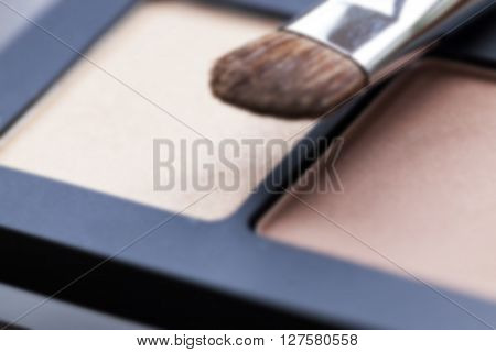 cosmetics for makeup on eyes, eye shadow close-up, Defocus