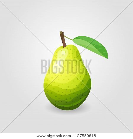 Illustration of one ripe pear with leaf. Fruit icon