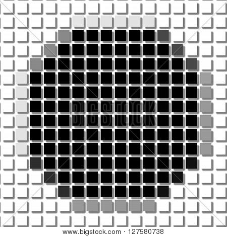 Octagon. Square. The Simple Geometric Pattern Of Black Squares With Shadowed Frame. Set Of Dot Patte
