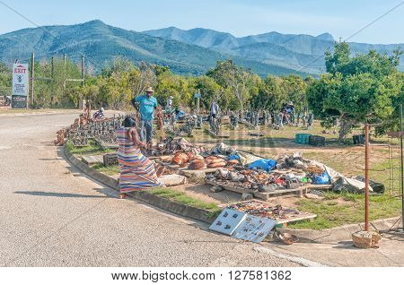 BLOUKRANS BRIDGE SOUTH AFRICA - MARCH 2 2016: Unidentified entrepreneurs selling their curios at the Bloukrans Bridge.