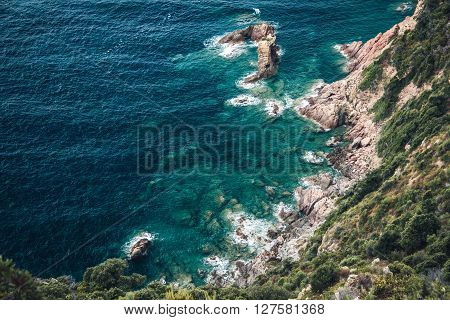 A rocky coast somewhere on Corsica, France