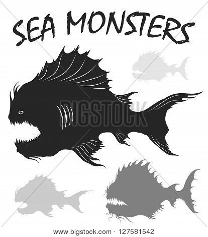 Sea monsters set. Deep-sea fishes. Black and white freehand drawing illustration isolated on white background. Vector illustration.