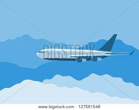 Big passenger's plane fly thru the clouds vector illustration
