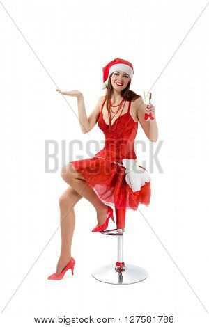 portrait of a beautiful Santa girl in studio
