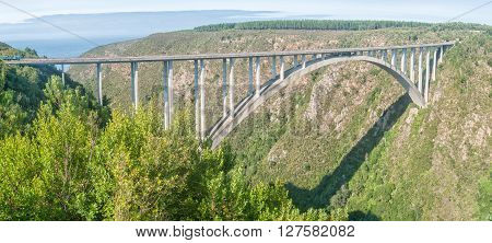 BLOUKRANS BRIDGE SOUTH AFRICA - MARCH 2 2016: The Bloukrans Bridge at 216 meter above the Bloukrans River the highest bridge in Africa and site of the worlds highest commercial bungee jump