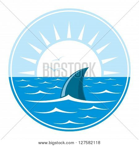 Shark logo. Logotype of sharks fin in in blue water over white sun. Vector Illustration.