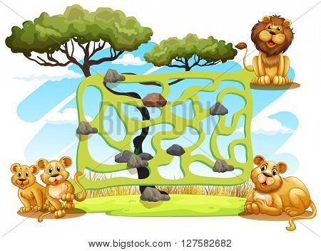 Game template with lions in the field illustration