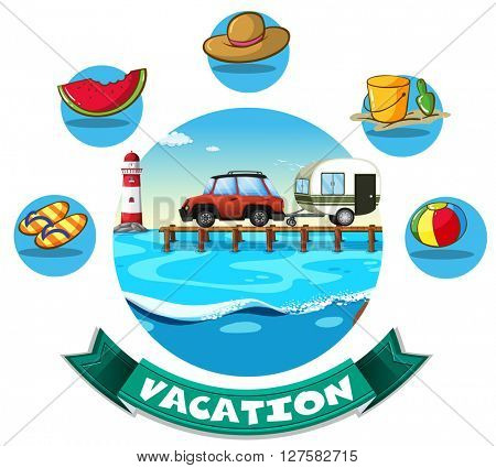 Vacation theme with wagon and beach objects illustration