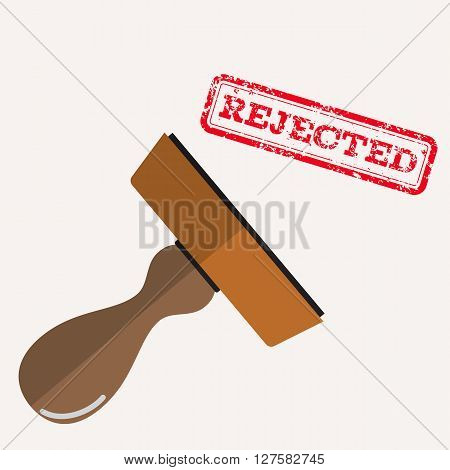 stamp rejected with red text over white background.  vector illustration in flat design