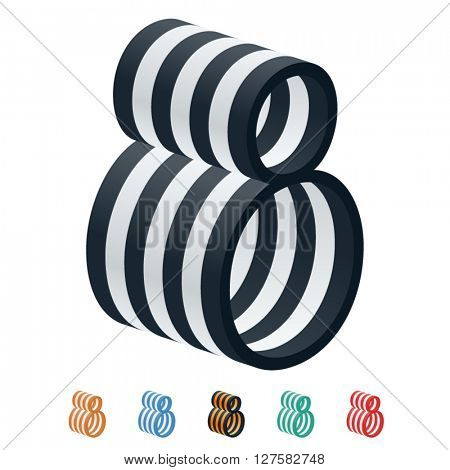 Vector stripped 3D alphabet. Optional different colors. Number 8