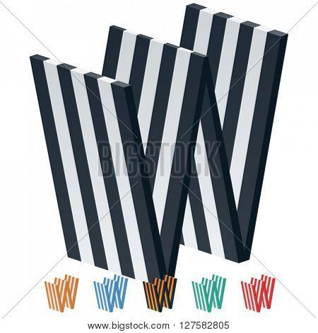 Vector stripped 3D alphabet. Optional different colors. Letter W