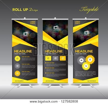 Yellow and black Roll Up Banner template and info graphics stand design vector illustration