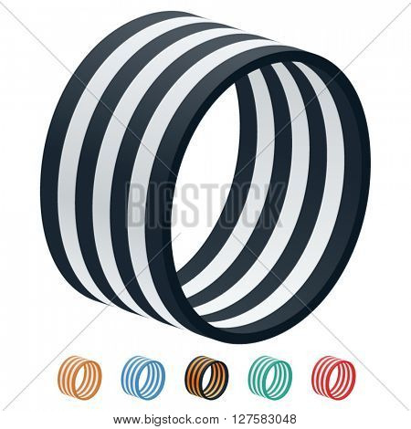 Vector stripped 3D alphabet. Optional different colors. Letter O