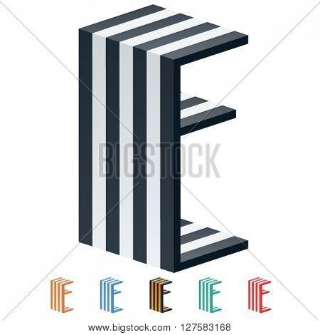 Vector stripped 3D alphabet. Optional different colors. Letter E