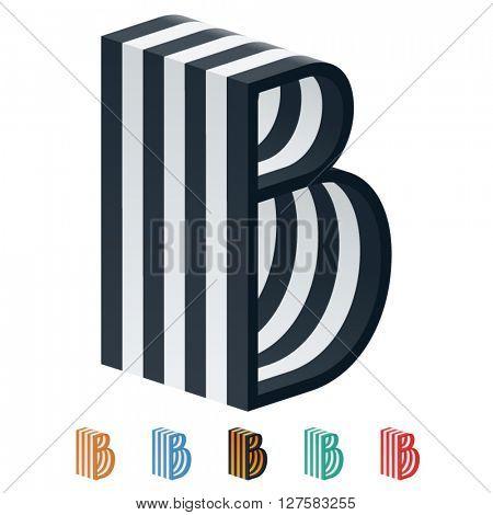 Vector stripped 3D alphabet. Optional different colors. Letter B