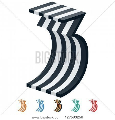 Vector stripped 3D alphabet. Optional different colors. Number 3