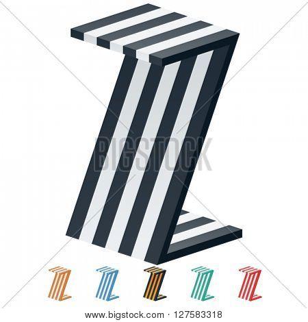 Vector stripped 3D alphabet. Optional different colors. Letter Z