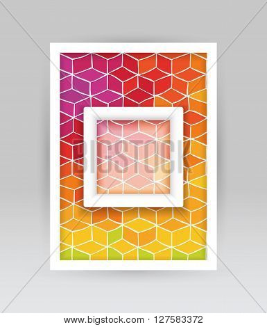 Banner with hand drawn pattern of colored cubes and transparent square with white borders