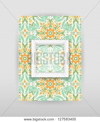Banner with floral pattern and transparent square with white frame