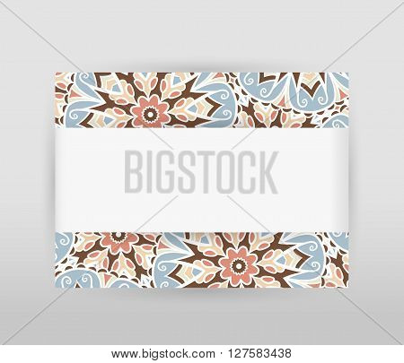 Banner with floral pattern and white horizontal paper tape