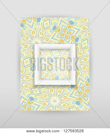 Banner with geometric pattern and transparent square with white frame