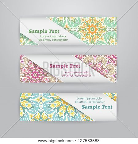 Set of three horizontal banners with colored mandala pattern and white diagonal paper tape