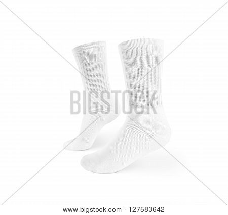 Blank white socks design mockup, isolated, clipping path. Pair sport crew cotton socks wear mock up. Long clear soft sock stand presentation. Men basketball, football, tennis plain socks template.
