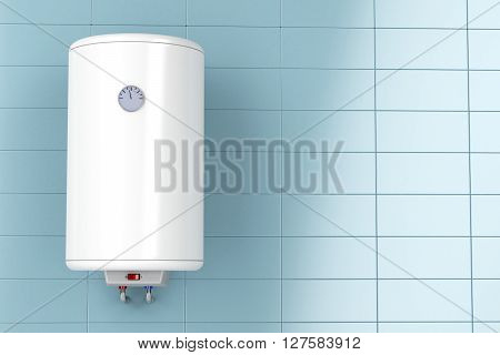 3D illustration of electric water heater in the bathroom