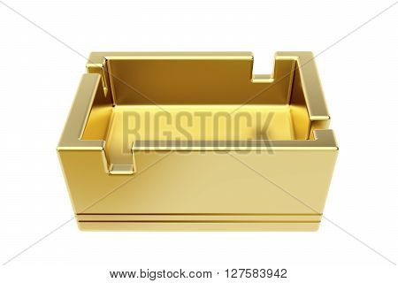 3D illustration of empty golden ashtray isolated on white background