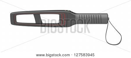 Hand-held metal detector isolated on white background, 3D illustration