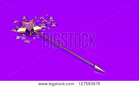 Golden magic wand with stars on shiny purple background, 3D illustration