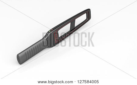 3D illustration of portable metal detector on shiny white background