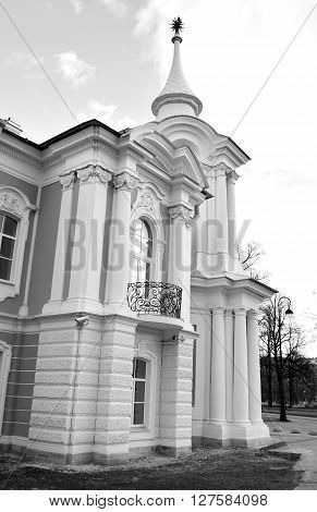 Smolny Monastery at sunny day in St.Petersburg Russia. Black and white.
