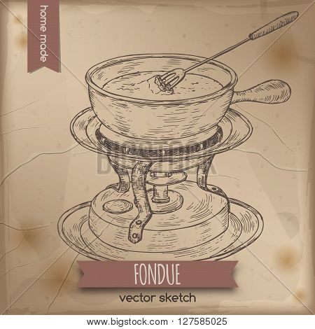 Vintage fondue chafing stand vector sketch placed on old paper background. Great for restaurant, cafe, menu, recipe books, food label design.