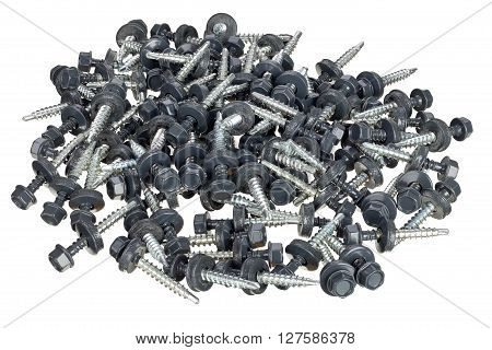 Roof screws with rubber seals isolated on white background  focus stacking.