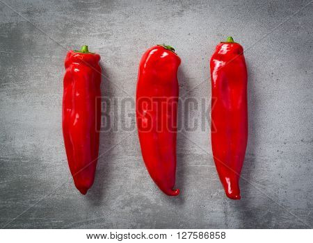 Thre Red Peppers On A Row